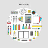 Set of vector flat icons for design art studio accessories. Flat design vector illustration of modern creative office workspace, workplace of designer and artist Stock Image