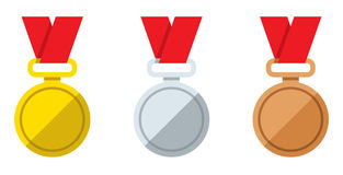 Set vector flat icons sport medal vector illustration