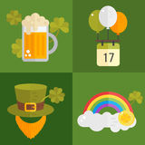Set of vector flat icons for St.Patricks day Stock Image