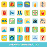 Set of vector flat icons summer beach vacation and travel stock illustration