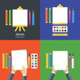 Set of vector flat illustrations of tools and art supplies. Set of vector flat illustrations of tools, art supplies for design, painting, creativity. Vector icon Royalty Free Stock Photos