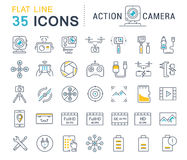 Set Vector Flat Line Icons Action Camera Stock Images