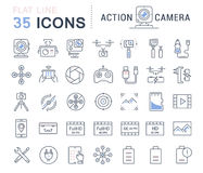 Set Vector Flat Line Icons Action Camera Royalty Free Stock Photography