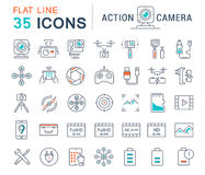 Set Vector Flat Line Icons Action Camera Stock Photography
