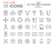 Set Vector Flat Line Icons Action Camera Royalty Free Stock Images