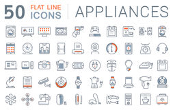 Set Vector Flat Line Icons Appliance. Set  line icons in flat design appliance, smart devices and gadgets, modern web icons and symbols with elements for mobile Royalty Free Stock Photo