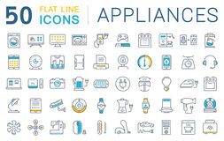 Set Vector Flat Line Icons Appliance. Set  line icons in flat design appliance, smart devices and gadgets, modern web icons and symbols with elements for mobile Royalty Free Stock Photography