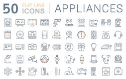 Set Vector Flat Line Icons Appliance. Set  line icons in flat design appliance, smart devices and gadgets, modern web icons and symbols with elements for mobile Stock Photos