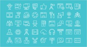 Set Vector Flat Line Icons Blogging Royalty Free Stock Images