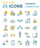 Set Vector Flat Line Icons Business Competition Stock Photography