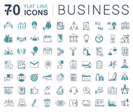 Set Vector Flat Line Icons Business. Set  line icons in flat design business, finance and teamwork with elements for mobile concepts and web apps. Collection Stock Images