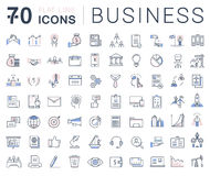 Set Vector Flat Line Icons Business. Set  line icons in flat design business, finance and teamwork with elements for mobile concepts and web apps. Collection Royalty Free Stock Photography