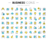 Set Vector Flat Line Icons Business. Set  line icons with open path business, finance and teamwork with elements for mobile concepts and web apps. Collection Royalty Free Stock Image