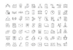 Set Vector Flat Line Icons Business. Set  line icons with open path business, finance and teamwork with elements for mobile concepts and web apps. Collection Royalty Free Stock Images