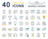 Set Vector Flat Line Icons Business Training Stock Photos