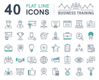 Set Vector Flat Line Icons Business Training Royalty Free Stock Photos