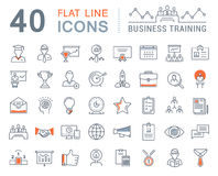 Set Vector Flat Line Icons Business Training Royalty Free Stock Photo