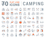 Set Vector Flat Line Icons Camping Royalty Free Stock Image