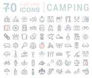 Set Vector Flat Line Icons Camping Stock Photo