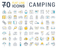 Set Vector Flat Line Icons Camping Stock Photos