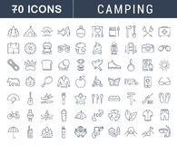 Set Vector Flat Line Icons Camping royalty free illustration