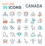 Set Vector Flat Line Icons Canada Stock Photo