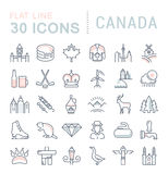 Set Vector Flat Line Icons Canada Royalty Free Stock Photo