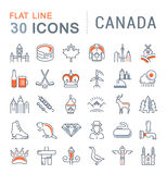Set Vector Flat Line Icons Canada Stock Photography