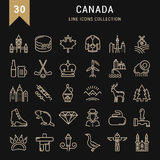 Set Vector Flat Line Icons Canada Stock Images