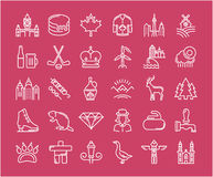 Set Vector Flat Line Icons Canada Royalty Free Stock Image