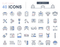 Set Vector Flat Line Icons Car Service Stock Images