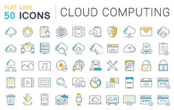 Set Vector Flat Line Icons Cloud Service Royalty Free Stock Images