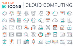 Set Vector Flat Line Icons Cloud Service Stock Photos