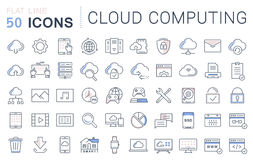 Set Vector Flat Line Icons Cloud Service Royalty Free Stock Image