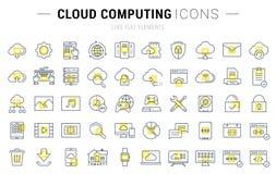 Set Vector Flat Line Icons Cloud Service Stock Photo