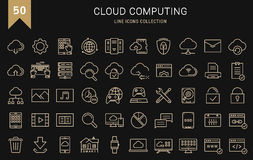 Set Vector Flat Line Icons Cloud Service Royalty Free Stock Photography