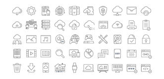 Set Vector Flat Line Icons Cloud Service Royalty Free Stock Photo