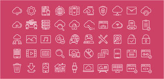 Set Vector Flat Line Icons Cloud Service Royalty Free Stock Photos