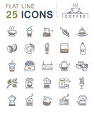 Set Vector Flat Line Icons Coffee Royalty Free Stock Photos