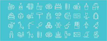 Set Vector Flat Line Icons Cognac Royalty Free Stock Images