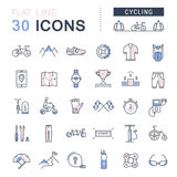 Set Vector Flat Line Icons Cycling. Set  line icons in flat design cycling, bike elements and parts, bicycle sport with elements for mobile concepts and web apps Royalty Free Stock Photos