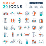 Set Vector Flat Line Icons Cycling stock illustration