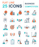 Set Vector Flat Line Icons Stock Images