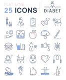 Set Vector Flat Line Icons Diabet Stock Photo
