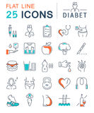 Set Vector Flat Line Icons Diabet Royalty Free Stock Photo