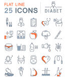 Set Vector Flat Line Icons Diabet Royalty Free Stock Photos