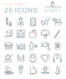 Set Vector Flat Line Icons Diabet Royalty Free Stock Photography