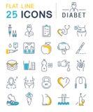 Set Vector Flat Line Icons Diabet Stock Image