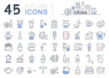 Set Vector Flat Line Icons Drinks and Alcohol Royalty Free Stock Image