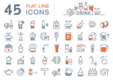 Set Vector Flat Line Icons Drinks and Alcohol Stock Photography